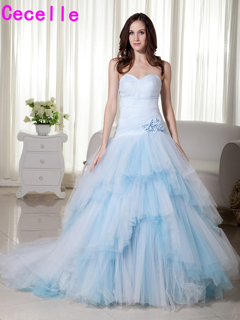Real Light Blue Long 2019 Wedding Dresses Sweetheart Pleats Tulle