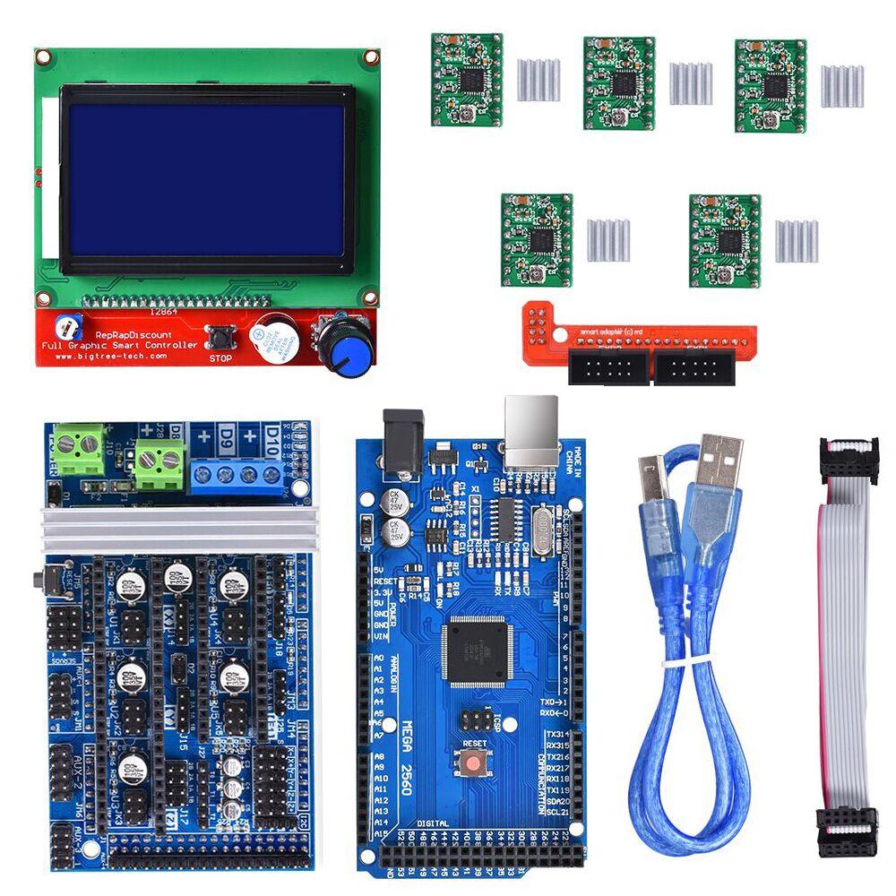 Rampes 1.6 3D imprimante contrôleur carte mère Base rampes 1.5 rampes 1.4 RepRap + Mega 2560 R3 + 12864 écran LCD + TMC2130/DRV8825