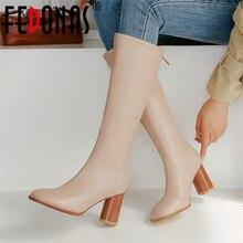 FEDONAS automne hiver nouveau concis en cuir synthétique femmes genou bottes hautes Zipper chaud bottes déquitation bottes longues chaussures de fête femme