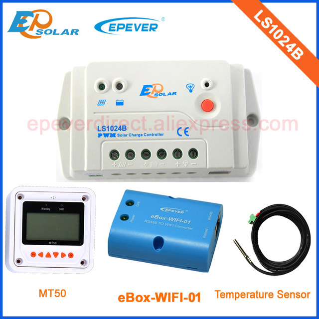 PWM battery EPEVER solar bettery charger controllers LS1024B with MT50 remote meter wifi and temperature sensor 10A