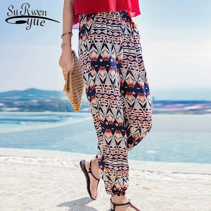 2019 fashion bohemian print chiffon pants holiday beach harem pants loose casual plus size women pants summer trousers D828 30