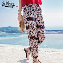 2019 fashion bohemian print chiffon pants holiday beach hare