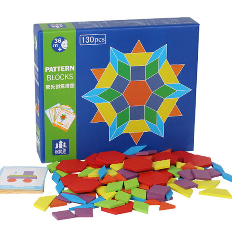 130Pcs Montessori Educational Toys Wooden Colorful Puzzles ...