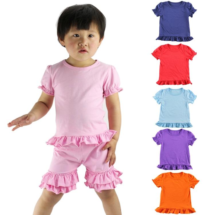 Новые Детские Детские футболки для девочек Детская одежда Топы детские Летняя одежда Футболка с коротким рукавом с рюшами Рубашки