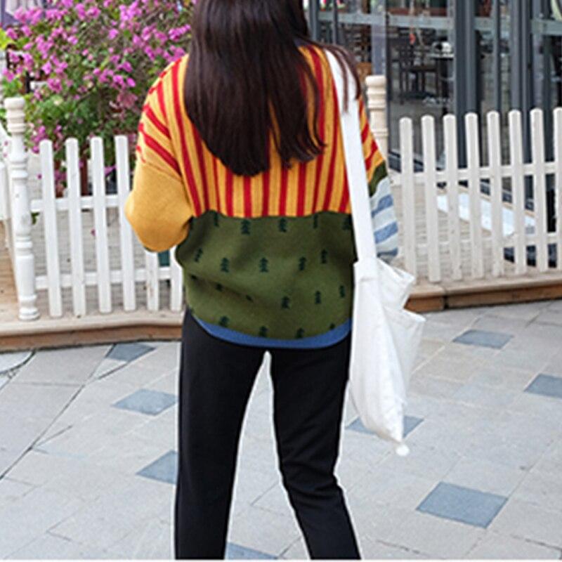 Vintage De 2018 Femmes Jumper Colorful Nouvelle Pull Hiver Rayé Couleur Chandail Casual Hit Harajuku Lâche Femme Pulls Coréenne PiuTOXkZ