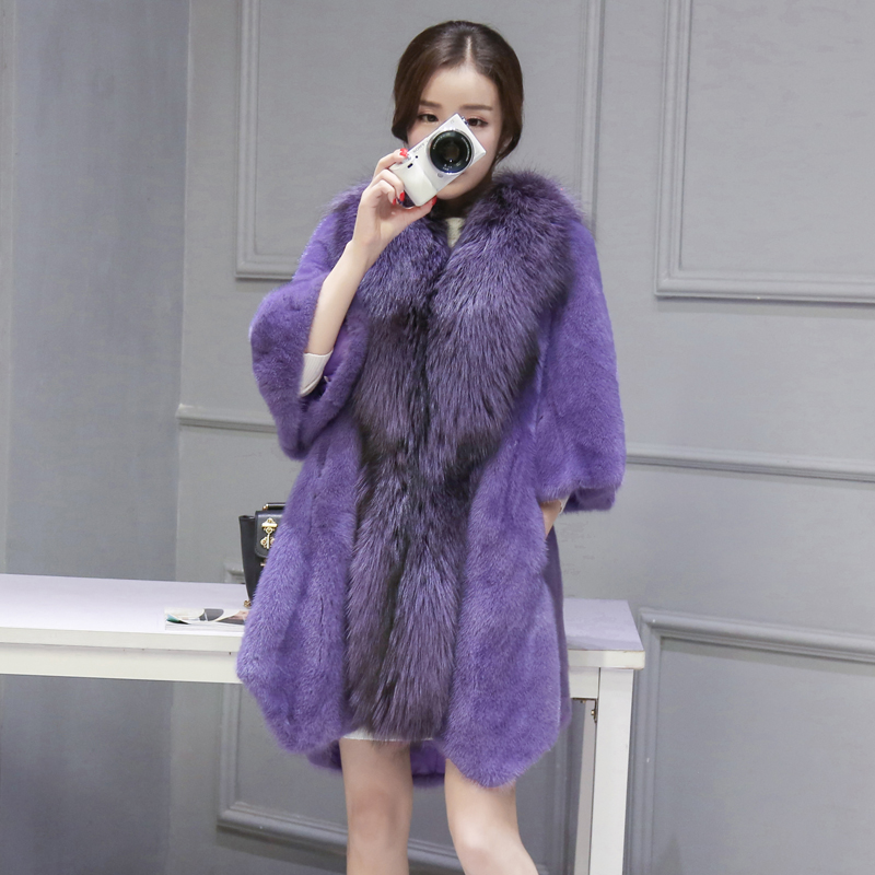 De 2018 Vison Col Grande Nouveau Importé Longue Dans Fourrure Renard Section Féminins Manteau Modèles La xqqAInr6