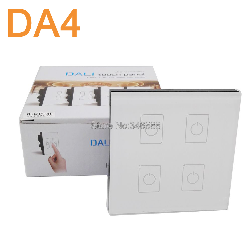 LTECH DA4 Wall Mount Touch Panel 4CH 4 Channel Control On/Off Switch Dimmer LED Controller DALI Series for LED Light AC220V ltech da6 wall mount knob panel dali dimmer controller on off switch 64 single address 16 group address and broadcast address