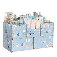 Wooden Desk Sets Wood Organizer with Drawers Handmade DIY Storage Box Makeup Organizer Case Joy Corner