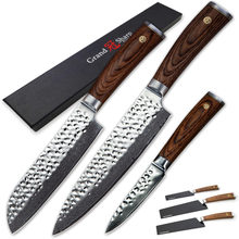 NEW 2018 Grandsharp 3 PCS Damascus Knife Set Chef Santoku Paring Knife vg10 Japanese Damascus Steel Professional Kitchen Knives(China)