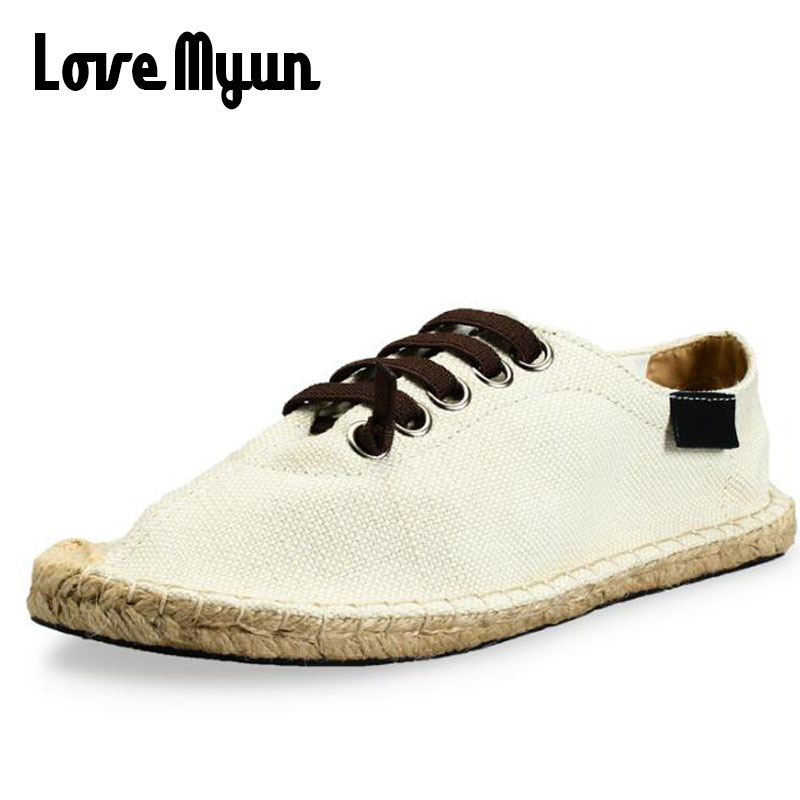Fashion summer Boy men Espadrille Flats Shoes Black White Bule male casual Canvas Hemp Insole Fisherman Light Shoes II-09