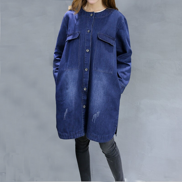 2017 Novo Chegada Único Breasted Calças Jeans Femininas Jaqueta de Grandes Dimensões Mulheres Long Cardigan Denim Plus Size XXL XXXL