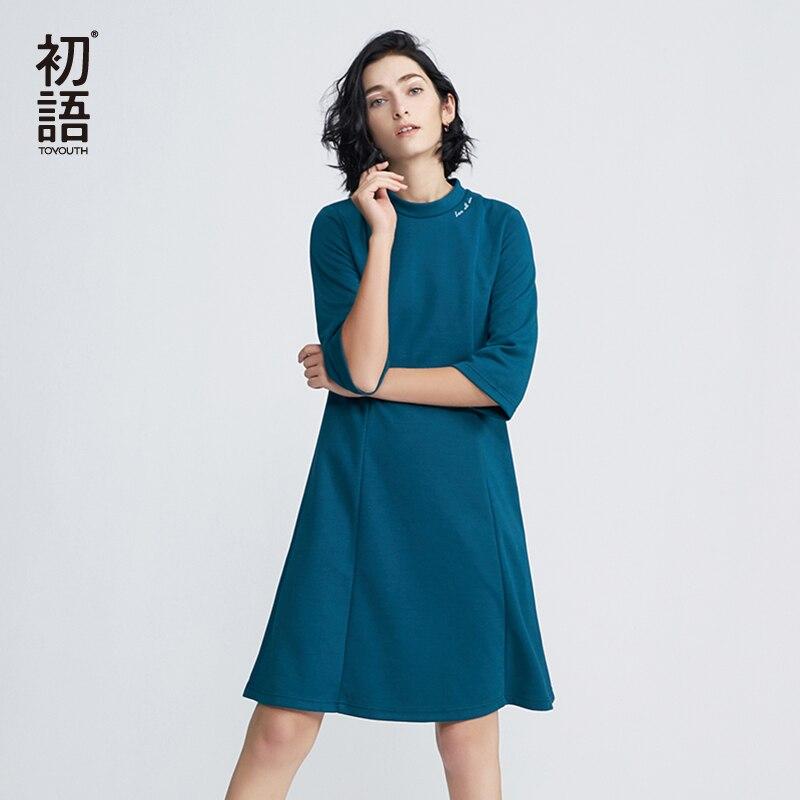 Toyouth Новое поступление платье 2018 Весенняя мода письмо Вышивка круглым вырезом линии леди до колена Длина Платья для женщин