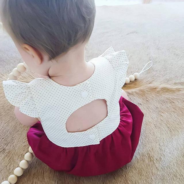 Macacão de bebê 2017 Novo Estilo de Verão Do Bebê Meninas Roupas de Algodão Dot Patchwork Roupas Recém-nascidos 3-24months Crianças Infantis Macacão