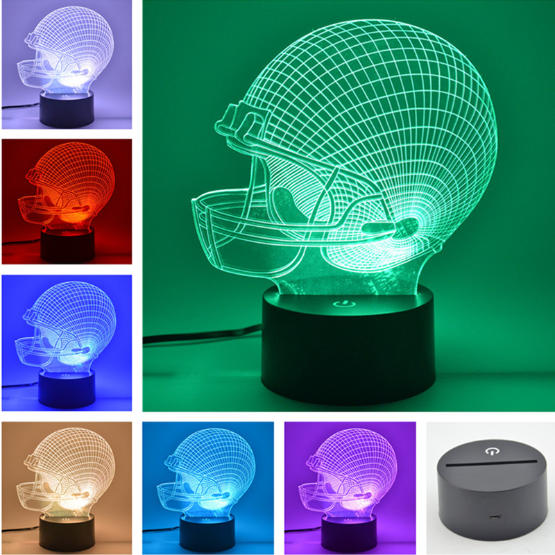 AUCD 3D Table Lamp Ragbi Cap Logo Kanak-kanak Krismas Hadiah Lampu Meja USB Novelty 7 Warna Tukar LED Light Malam FS58