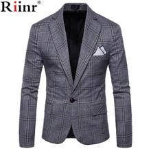 Riinr Brand Clothing Blazer Men One Button Men Blazer Slim F