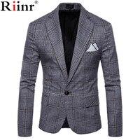 Riinr Brand Clothing Blazer Men One Button Men Blazer Slim Fit Costume Homme Suit Jacket Masculine Blazer Size M 4XL