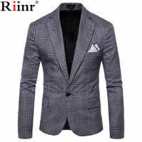 Riinr marca ropa Blazer hombres un botón hombres Blazer ajustado traje Homme chaqueta Blazer masculino tamaño M-4XL