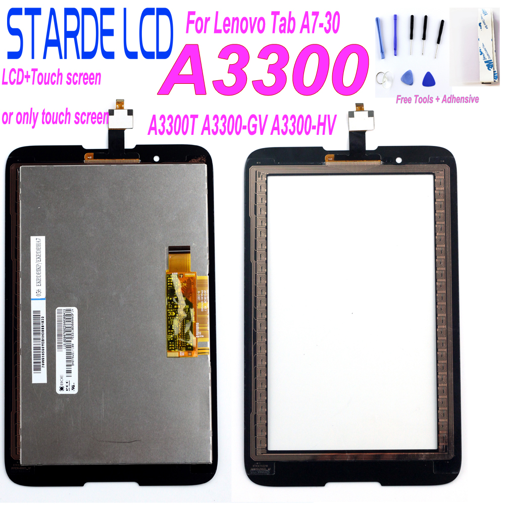 For Lenovo Tab A7-30 A3300 A3300T A3300-GV A3300-HV LCD Display Touch Screen Digitizer Sensor Glass Screen Panel Monitor