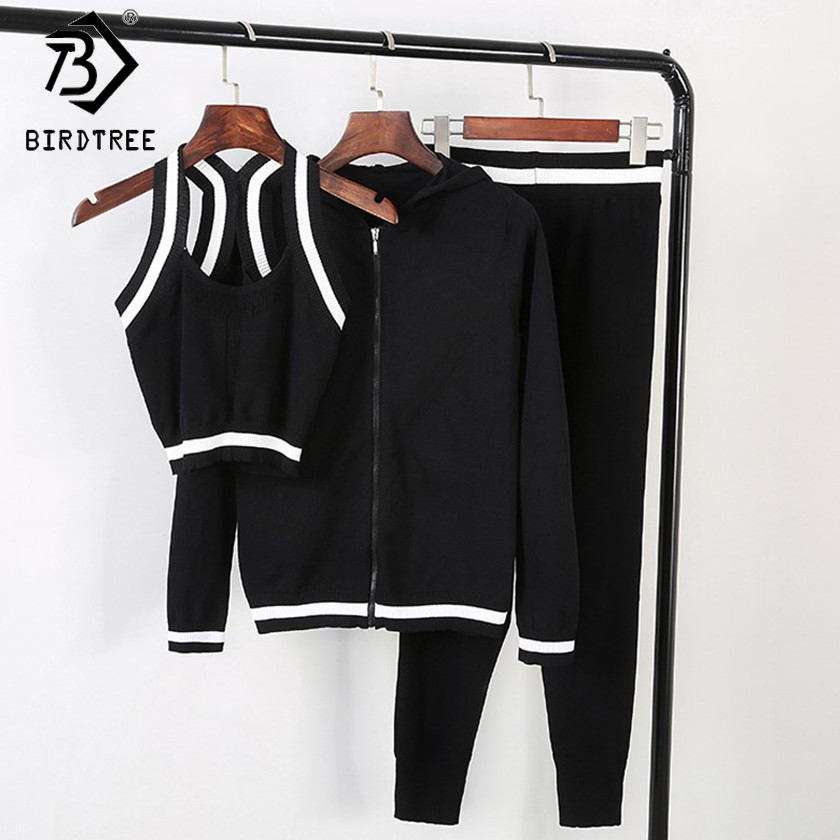Women's 3 Piece Knitted Pants Set 2018 Spring Fall Casual Cardigan Hooded Jacket + Small Vest + Harem Pants Trousers Set S7D026A