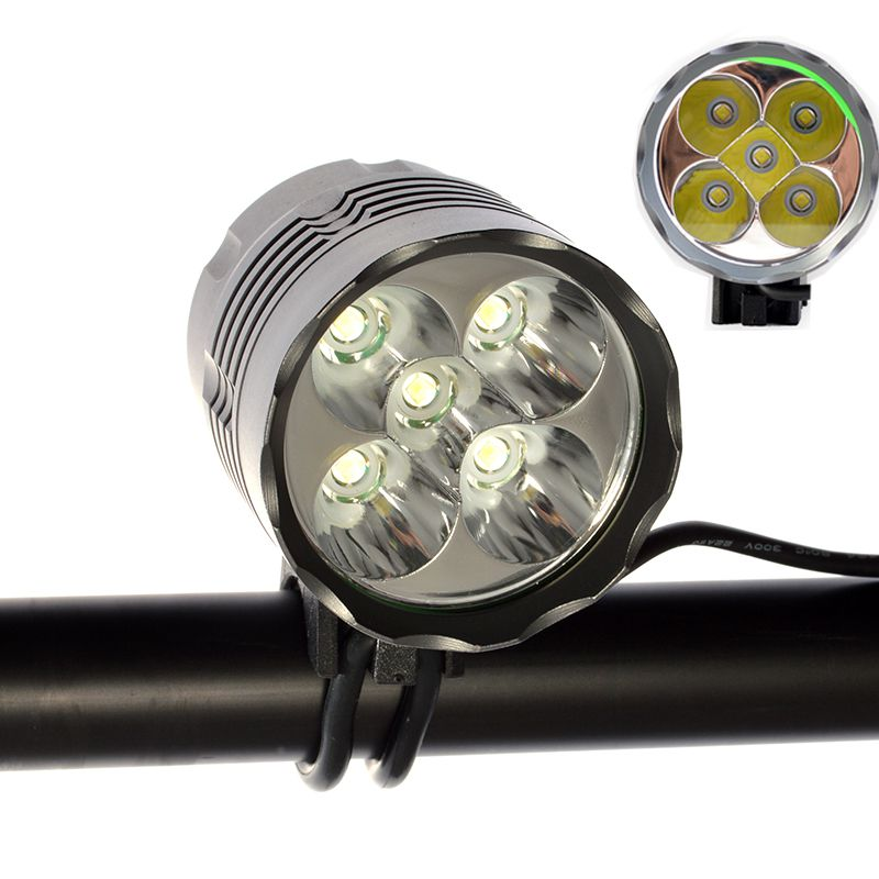 Цена за 10000 мАч Hot 6000 люмен света фар 5 x нью cree XM L T6 из светодиодов велосипед света фары водонепроницаемый алюминиевый сплав