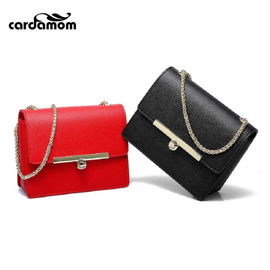 Cardamom 2017 Fashion Split Leather Handbags Women Flap Messenger Bags Ladies Chains Shoulder Bags Best Gift