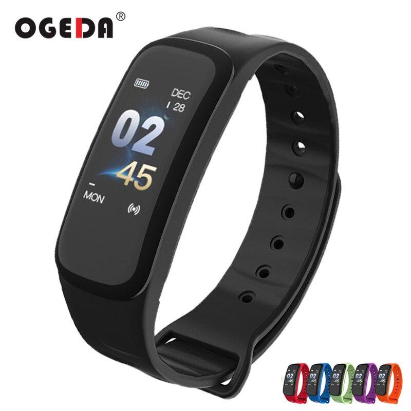 Hommes Montre Smart Watch Écran Couleur Bracelet C1 Sang Pression Étanche Fitness Tracker Moniteur de Fréquence Cardiaque Bande À Puce pour Android IOS