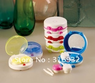 Brand New Cute Frog  Contact Lenses Auto Cleaner Washer Case,3pcs/lot