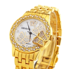 NEW Geneva Butterfly Watch Ladies Golden Metallic girl's informal gown wristwatch Style Women Relogio Reward Woman