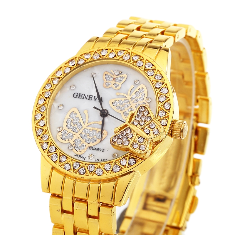 NEW Gnova Butterfly Crystal Women Watch Golden Metal Woman Dress wristwatch Fashion Ladies Quartz Relogio Geneva Style B189 l 10 women s stylish petals style bracelet quartz analog wristwatch golden white 1 x lr626