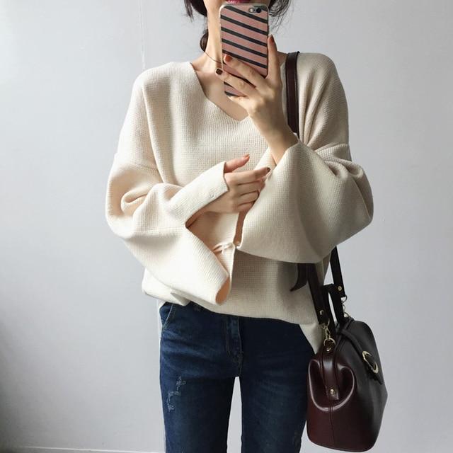 סוודר נשים קוריאני אופנה V צוואר סדק התלקחות ארוך שרוול סתיו חורף סוודרים מפנק Loose סוודר סרוג סוודר סריגים