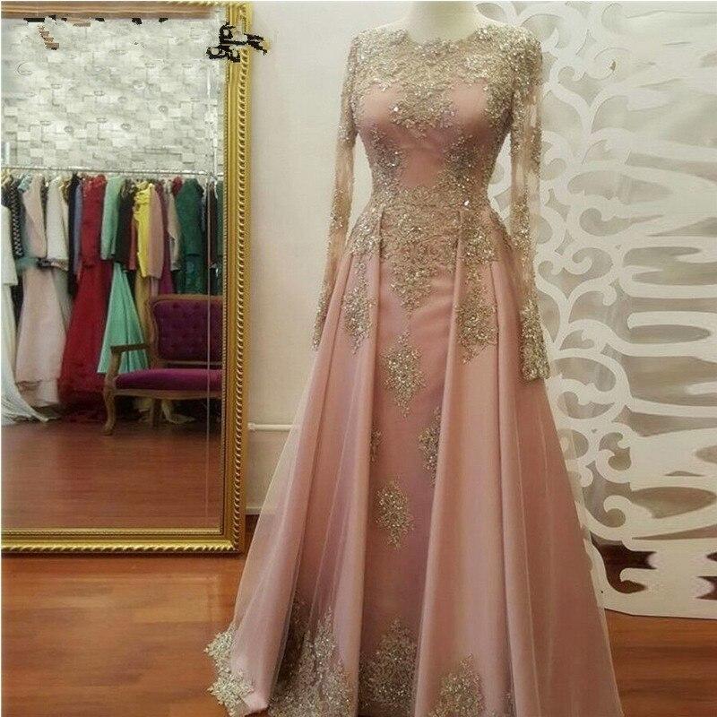 Arabie saoudite 2019 Dubai caftan dentelle Appliques perlée belle élégante fête marocaine longue musulmane robes formelles
