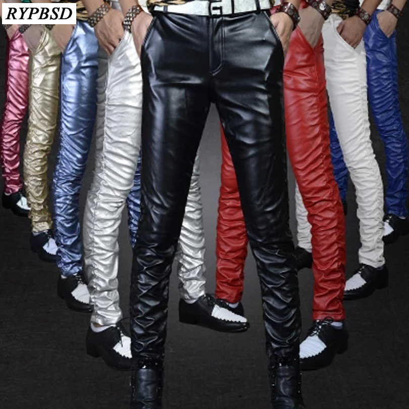 2019 Autumn New Gold Black Tight Shiny PU Leather Men Pants Velvet Fashion Nightclub Show Stage Performances Skinny Trousers Men