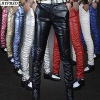 2019 Autumn New Gold Black Tight Shiny PU Leather Men Pants Velvet Fashion Nightclub Show Stage Performances Skinny Trousers Men