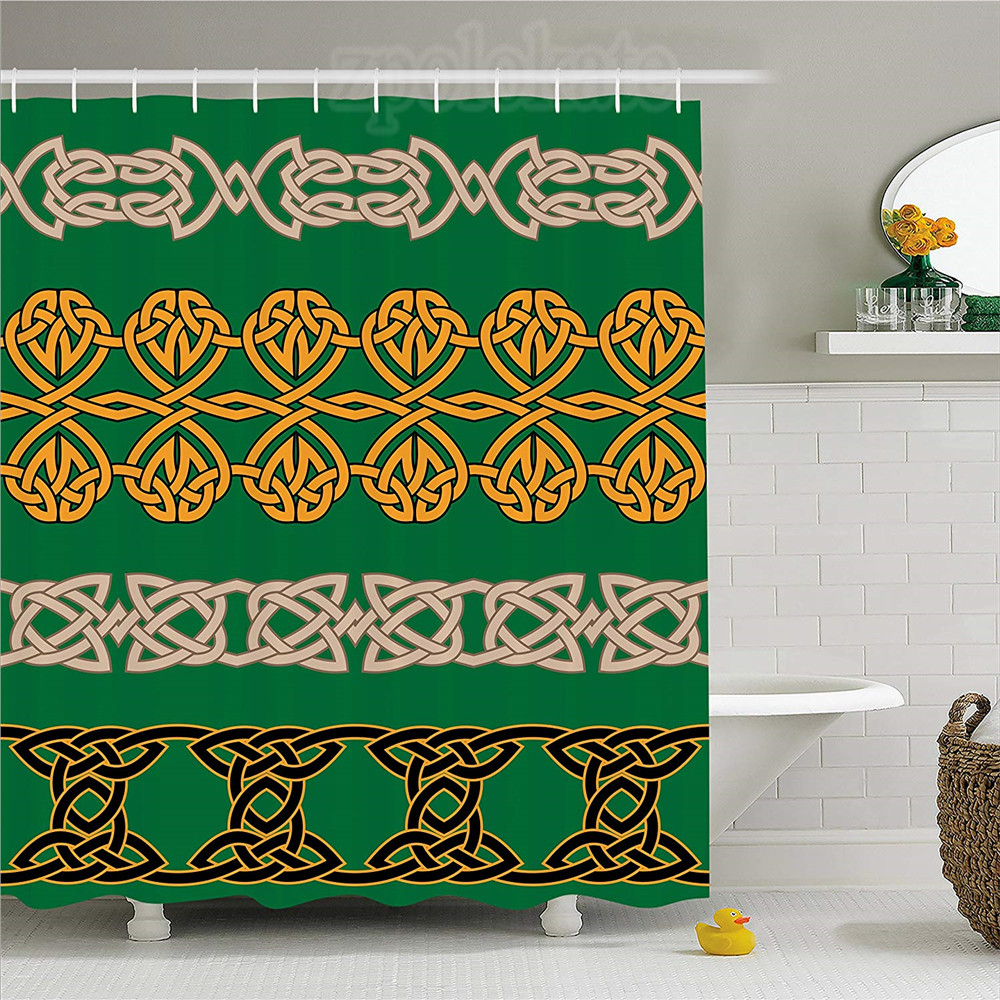 Detail Feedback Questions About Irish Shower Curtain Ethnic Religious Traditional Ornaments Inticate Borders Spiral Tribal Antique Art Fabric Bathroom Decor