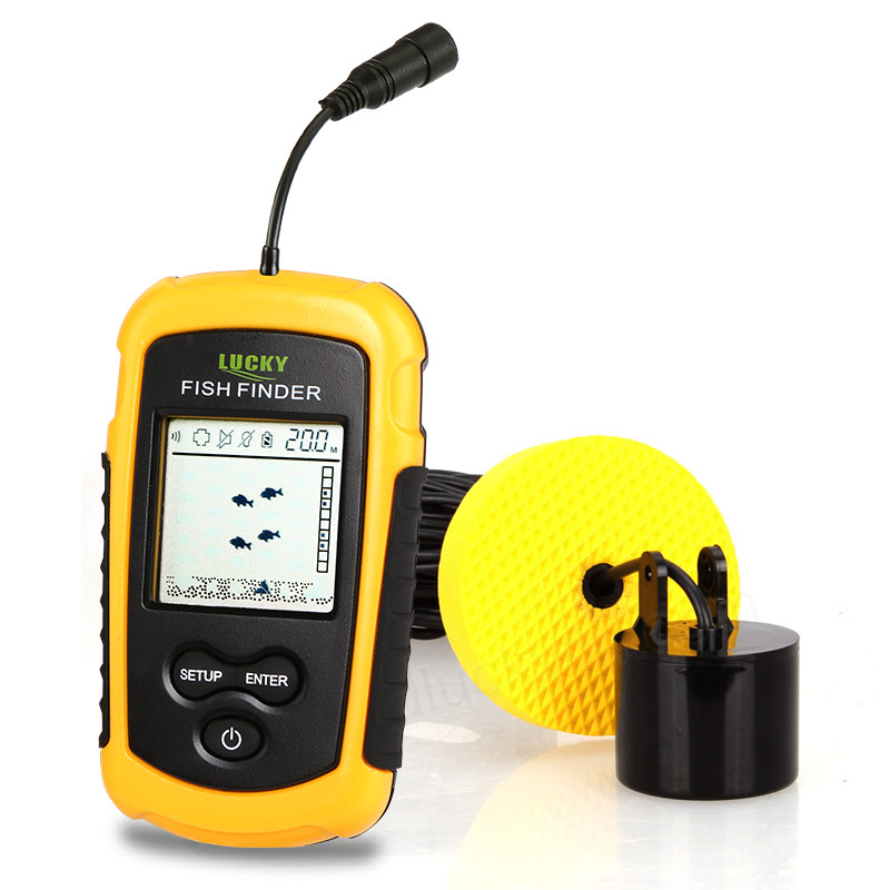 LuckyPortable Fish Finder Sonar Sounder Alarm Transducer Fishfinder 0,7-100m Fiskeri Ekkolod FF1108-1 Fishfinder