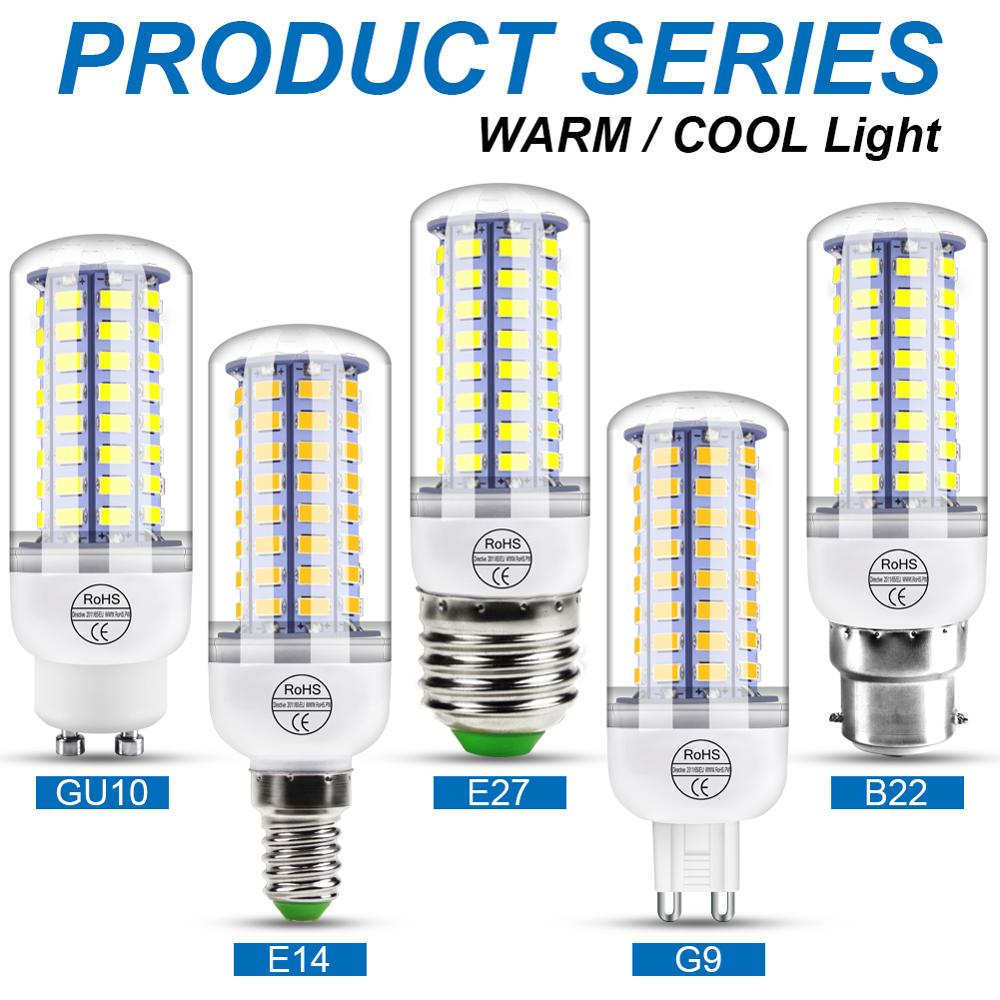 220V GU10 Led Lampe Birne E14 Led Kerze Glühbirne E27 Mais Lampe G9 Led 3W 5W 7W 9W 12W 15W Bombilla B22 Kronleuchter Beleuchtung 240V