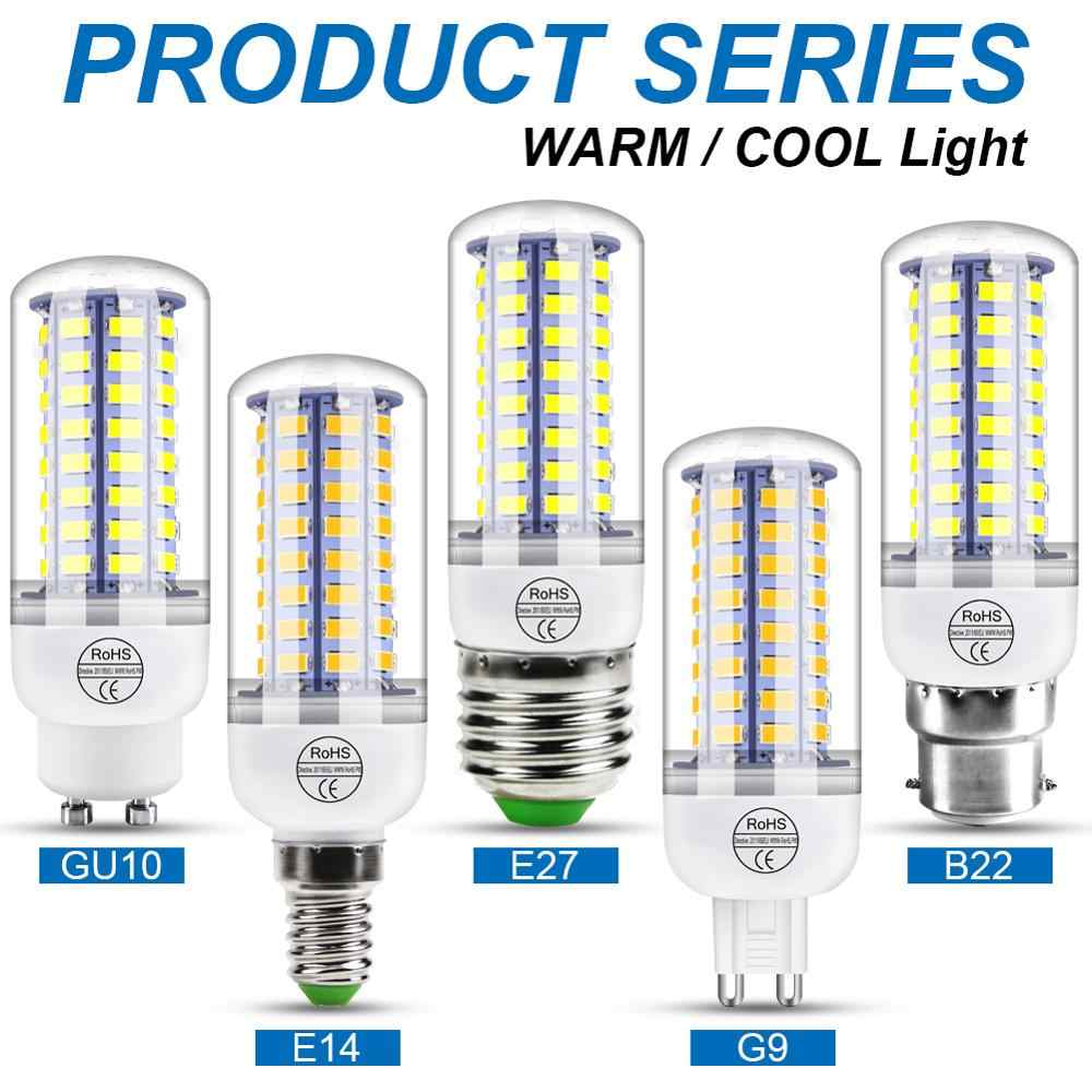 220V GU10 Led المصباح الكهربي E14 مصباح ليد على شكل شمعة E27 مصباح الذرة G9 Led 3W 5W 7W 9W 12W 15W بومبيليا B22 أضواء الثريا 240V