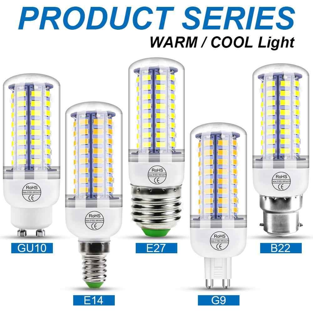 220V GU10 Led lamba ampulü E14 Led mum ışığı ampulü E27 mısır lambası G9 Led 3W 5W 7W 9W 12W 15W Bombilla B22 avize aydınlatma 240V
