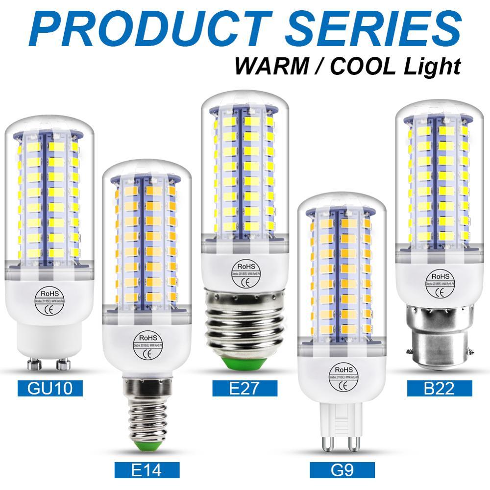 220V GU10 lampe à Led Ampoule E14 ampoules Led en forme de bougie E27 Lampe De Maïs G9 Led 3W 5W 7W 9W 12W 15W Bombilla B22 Lustre Éclairage 240V