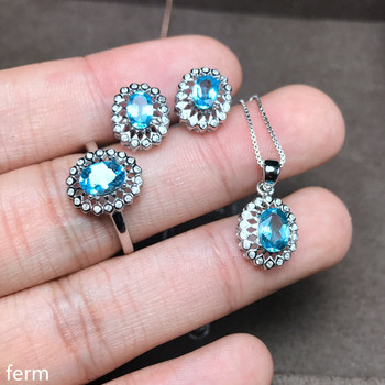 KJJEAXCMY boutique jewels 925 sterling silver set with natural topaz pendant necklace ring set with a new set of chrysanthemum a