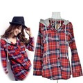 2016 Casual Plaid Women Blouses Long Sleeve Hooded Women Shirts Single Button Plus Size Camisa Feminina Cheap Clothes China