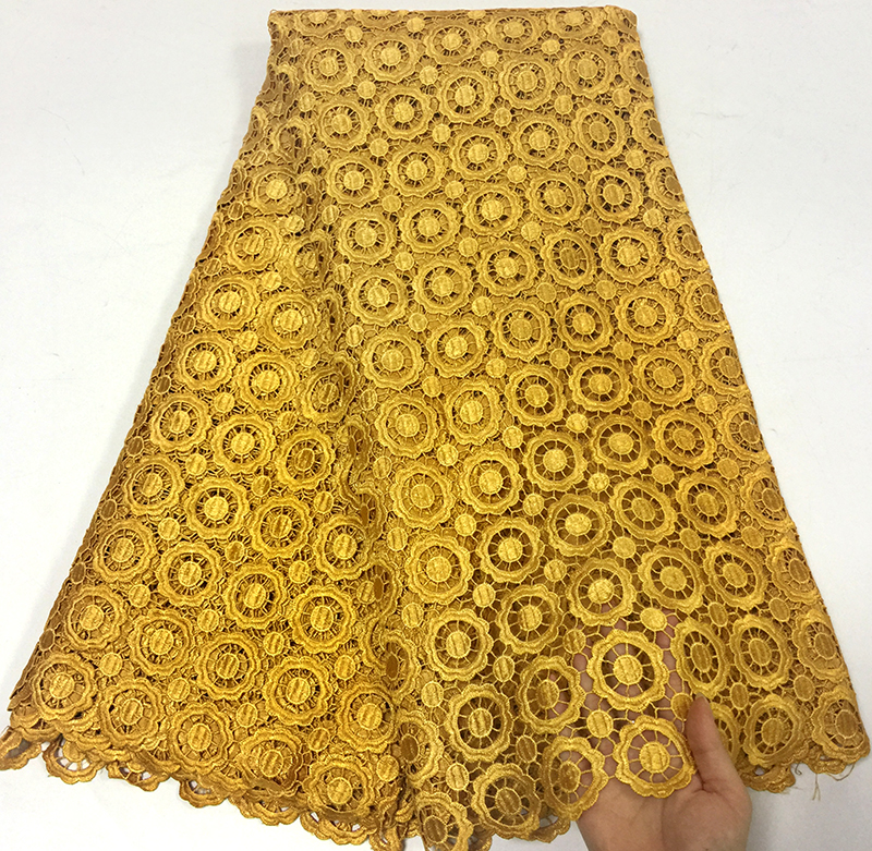 New Gold color African lace fabrics 5yard Fashion Guipure lace fabric High quality African Cord Lace Fabric For Wedding dresses