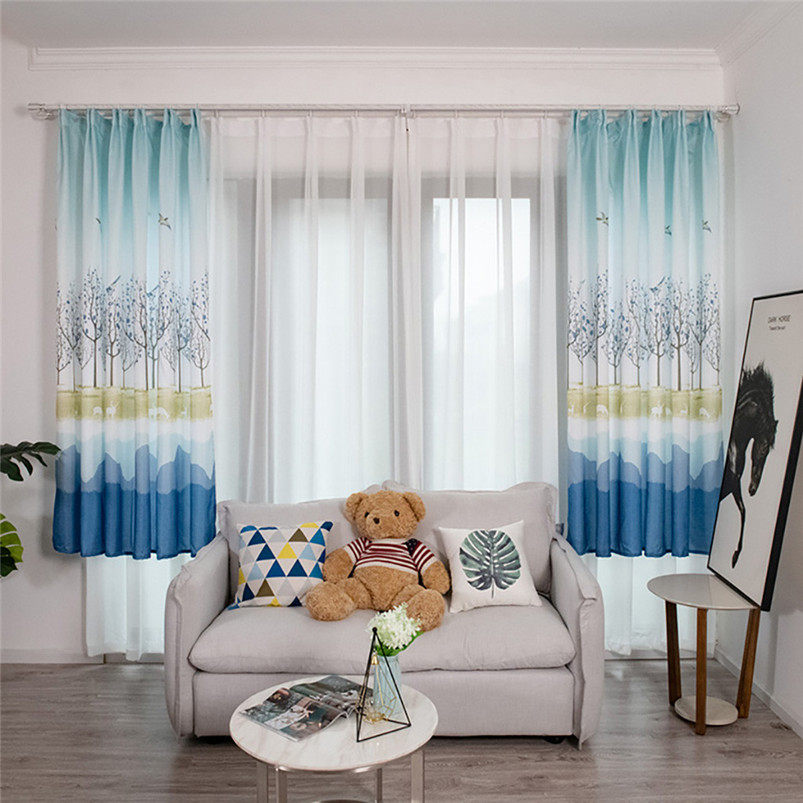 Country Style Bird Wood Grain Leaves Curtain Tulle Window