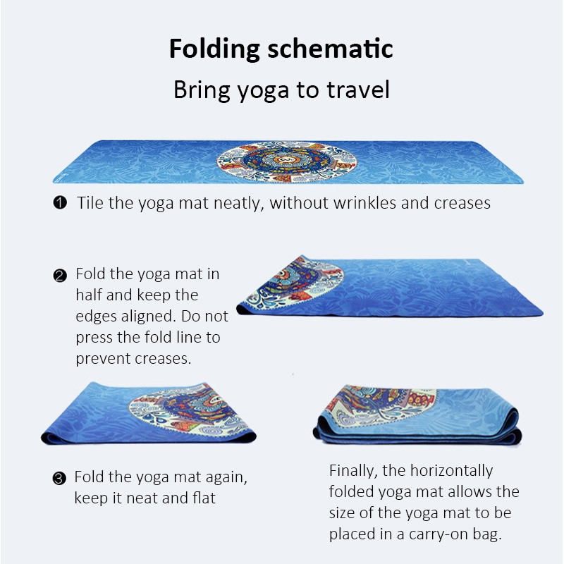 Portable  Yoga Mat Printing Ultra-thin Folding Non-slip Cloth Sweat-absorbent Towel Travel  Pilates  Pad 13