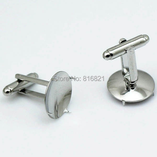 Blank Men s Cufflinks Settings with Round 4 Prong Pins Bezel Cabochons Base Cuff Links DIY