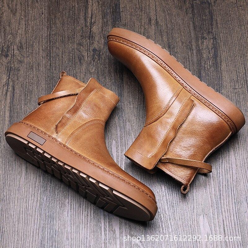 INOE мужские короткие зимние ботинки из овечьей кожи на меху на шнуровке для мужчин мужские полуботинки на шнуровке нескользящая подошва удо... - 5
