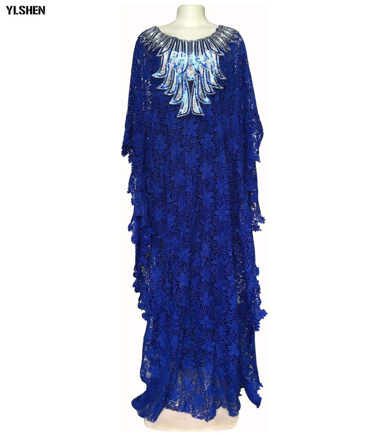 New Lace African Dresses for Women Dashiki Loose African Clothes Bazin Riche Sexy Africa Skirt with Beaded Embroidery Long Dress