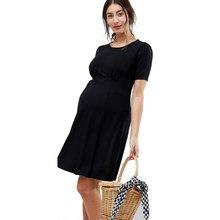 ff7768e4f De las mujeres embarazadas en acanalada vestido de maternidad de manga  corta de Verano de la longitud de la rodilla vestido de e.