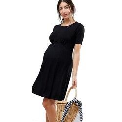 Lycra Zwangere vrouwen Wrapped Ruches Moederschap Jurk Zomer Korte Mouw Knie Lengte Zwangerschap Jurk Kleding voor Werken Mama
