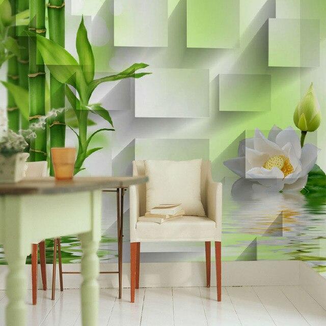 Fototapete 3D green bambus tapete wandbild moderne wohnzimmer sofa ...